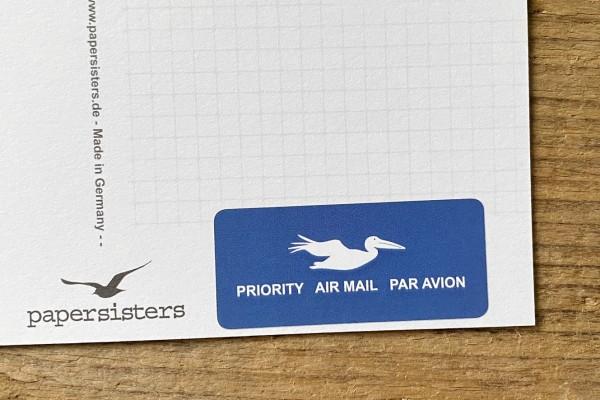 "Airmail Sticker large ""Pelican"" Set 60 pieces"