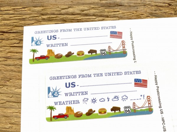 Greetings from the US Postcard ID Sticker Set 40 pieces