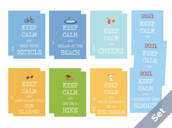"""Keep calm"" - Summer Set 15 pc + Stickers"