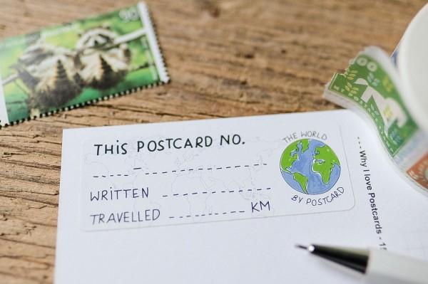 Postcard ID Sticker Set World 50 pieces