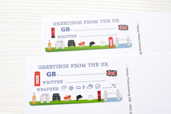 Greetings from the UK Postcard ID Sticker Set 40 Stück