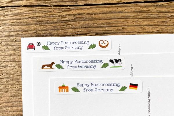 Happy Postcrossing from Germany Mix Sticker Set 60 Stück