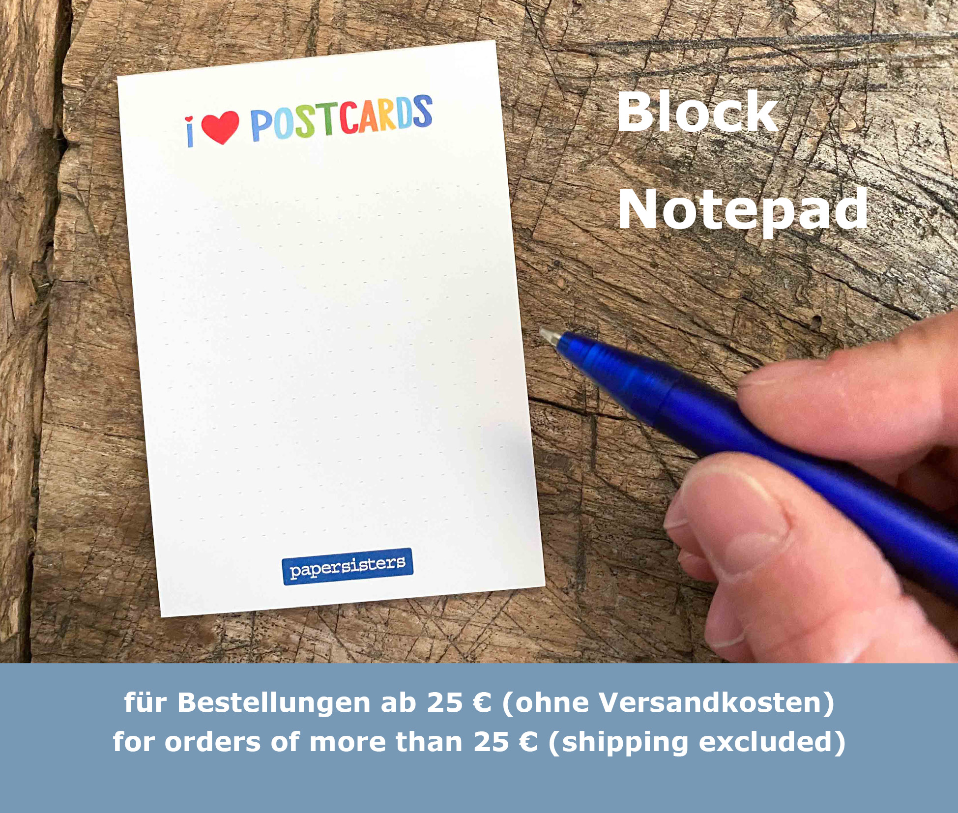 papersisters-Goodie-Notizblock-Notepad-I-love-Postcards