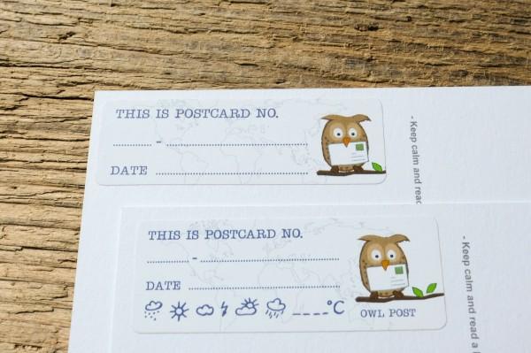 Postcard ID Sticker Set Owl Post 50 pieces