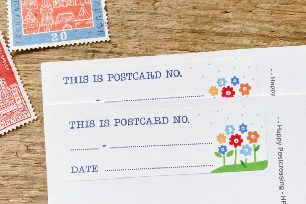 Postcard ID Sticker Set Flower 50 Stück