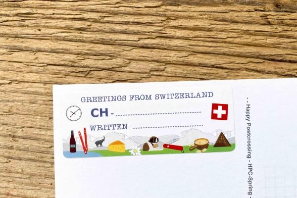 Greetings from Switzerland Postcard ID Sticker Set 40 pieces