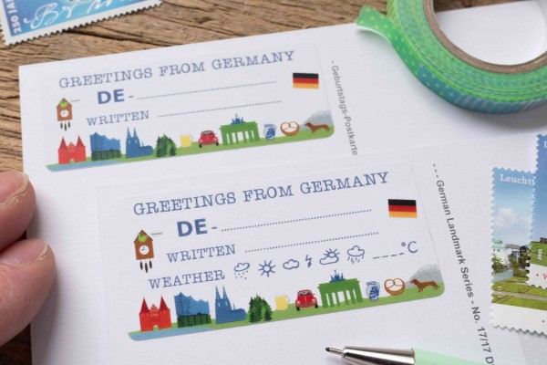 Greetings from Germany Postcard ID Sticker Set 40 Stück