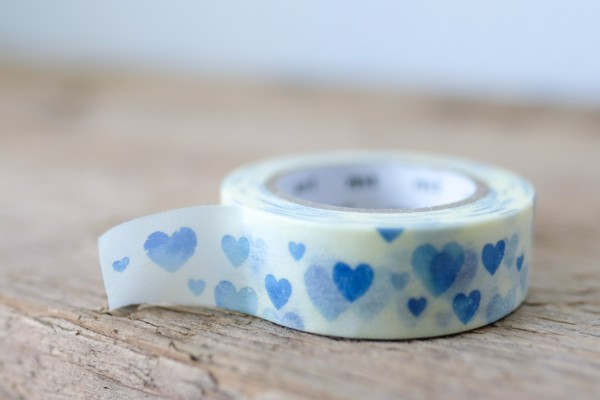 mt masking tape ex heart stamp blue