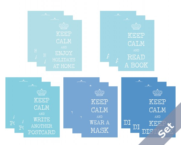 """Keep Calm"" - Blaues Set 15 Karten"
