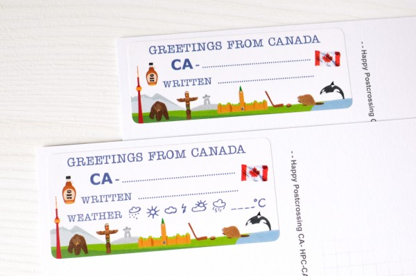 Greetings from Canada Postcard ID Sticker Set 40 Stück